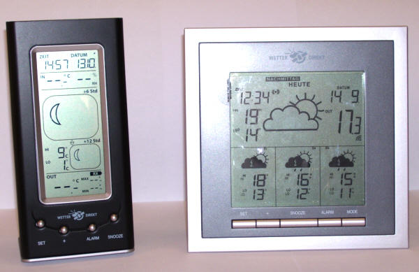 Zwei digitale Wetterstationen